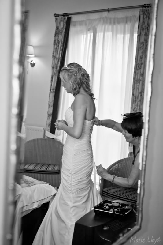 Brides reflection at Grosvenor Pulford
