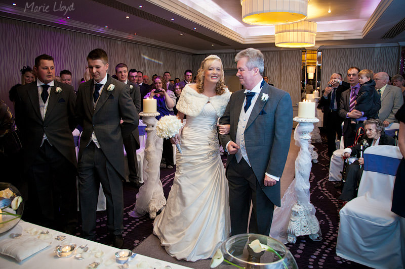 Bride arrives with her father at Grosvenor Pulford