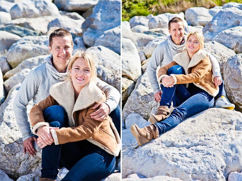 Llandudno beach engagement, couple in rocks
