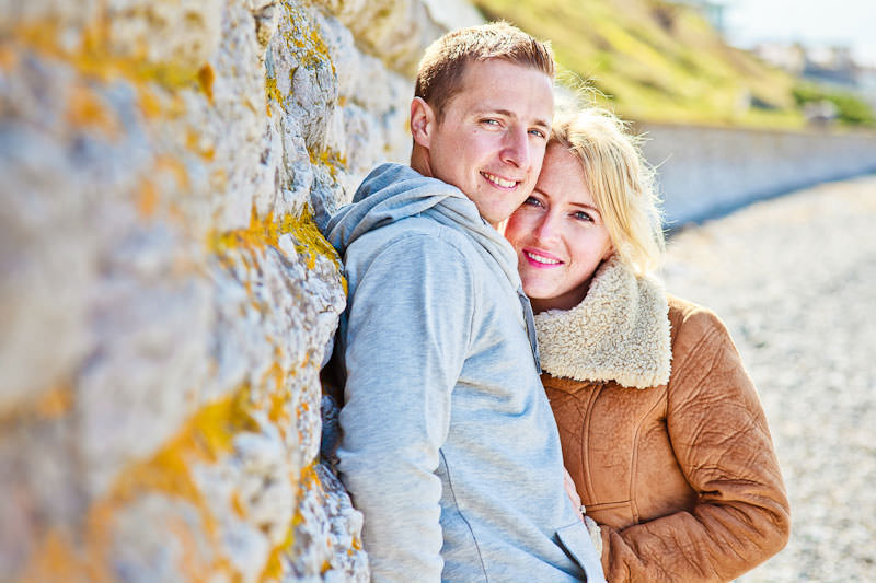 Llandudno beach engagement, against the sea wall