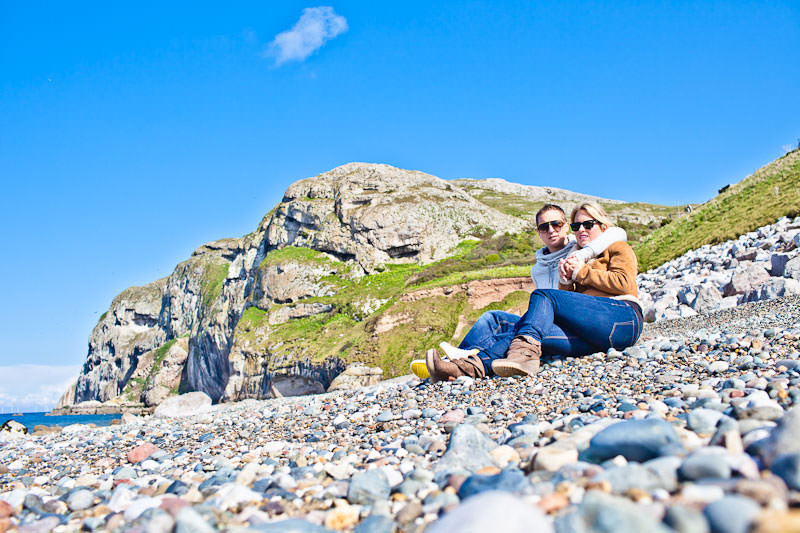 Llandudno beach engagement, relaxing on the beach