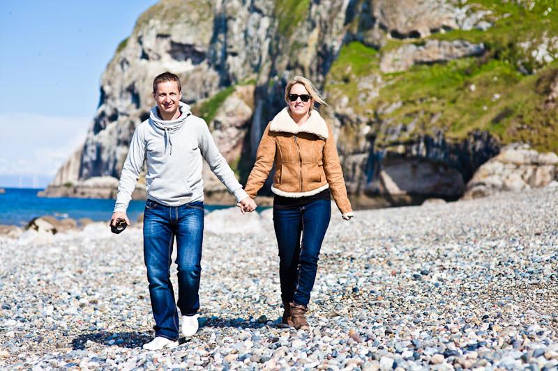 Llandudno beach engagement, walking along the beach