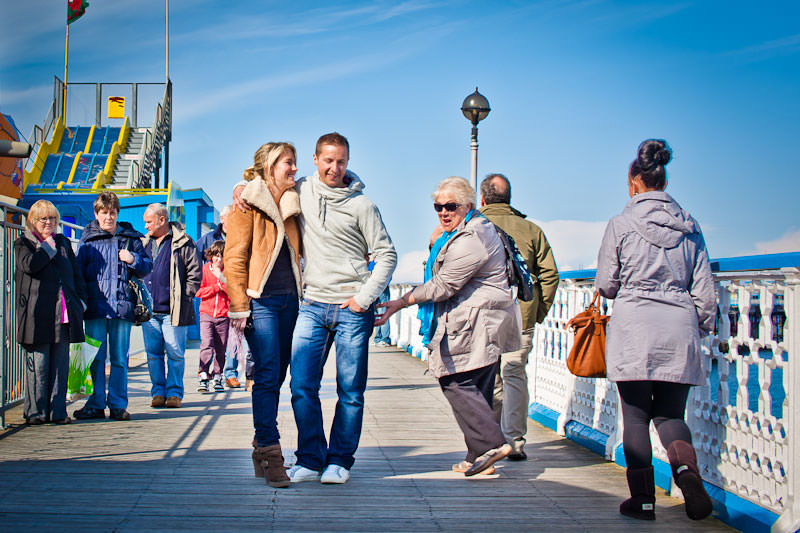 Llandudno pier engagement shoot, cheeky lady!