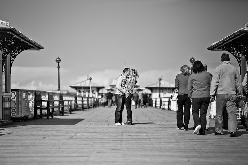 Llandudno pier engagement shoot, black and white