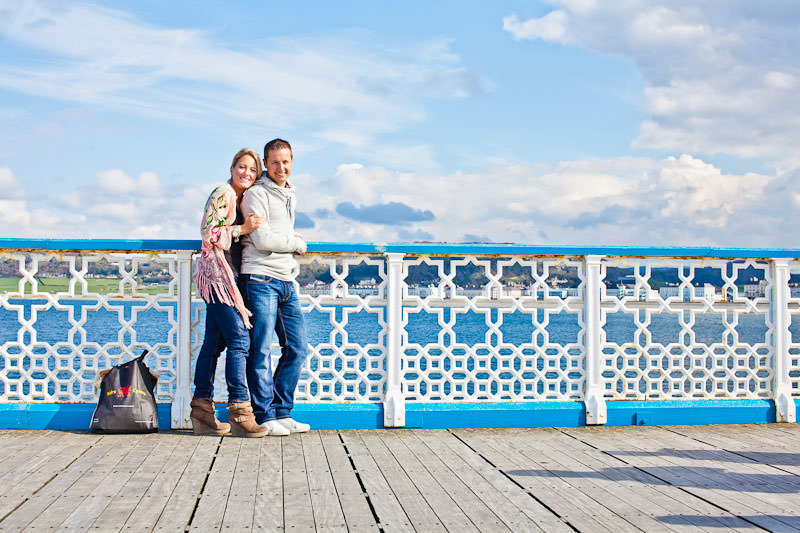 Llandudno pier engagement shoot, cool pattern on pier