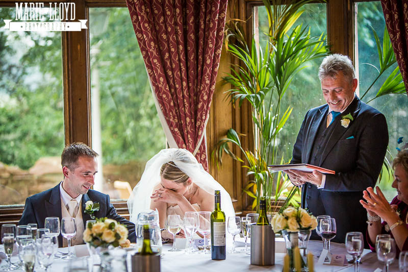 Father of the bride wedding speech at Ruthin Castle - the bride cringes at his jokes!