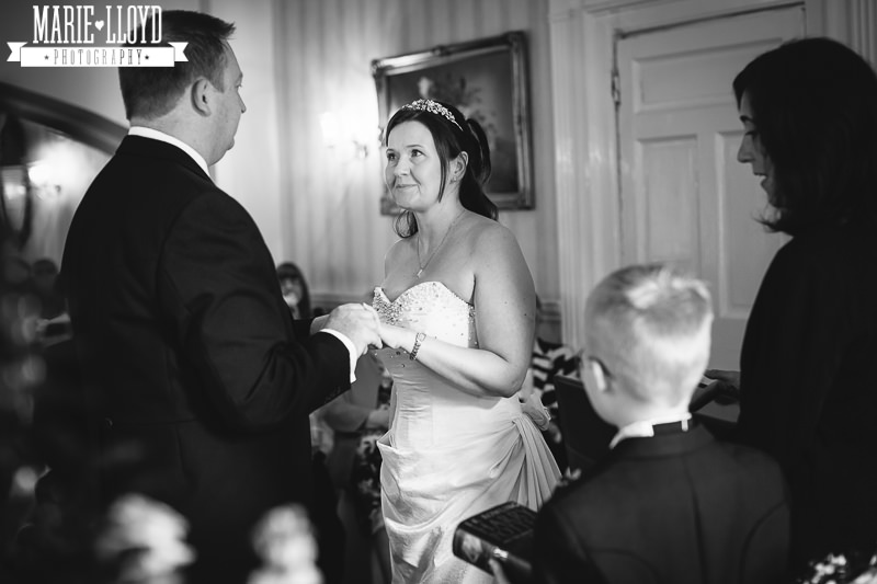 Black and white wedding photography at Wrexham, North Wales