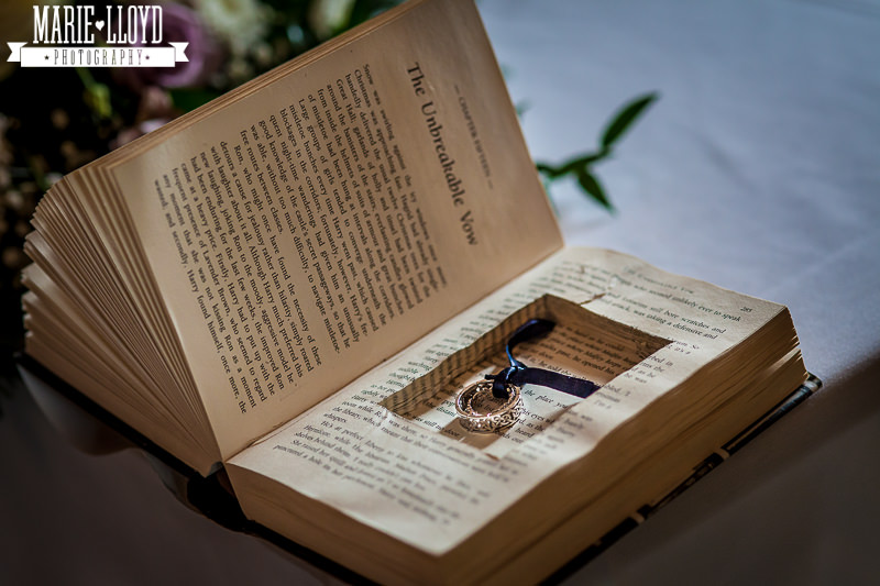 The Unbreakable Vow - Harry Potter. Wedding rings hidden inside a cut out inside a novel.