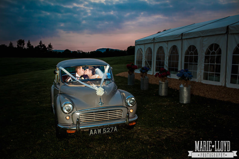 Wedding car photograph in a Moggy 1000 lit from the inside