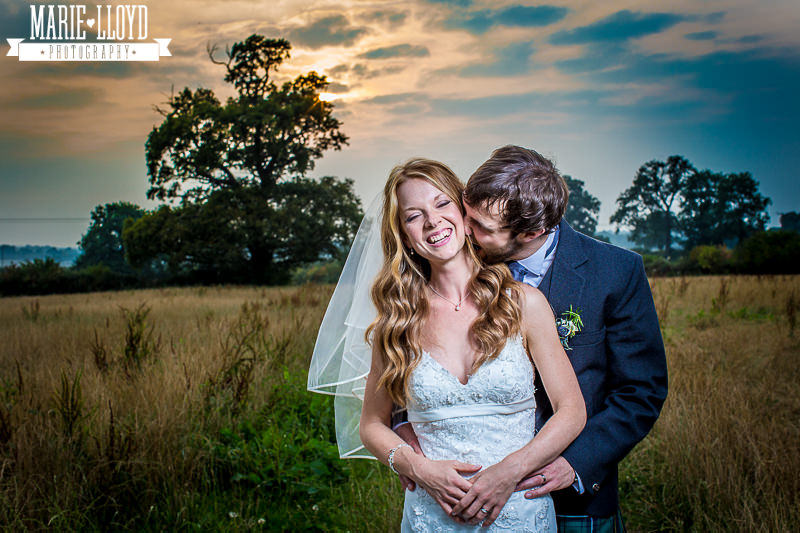 Shropshire wedding sunset at the Hundred House hotel