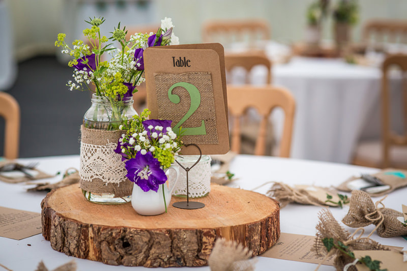 Table centre detail with a woodland theme