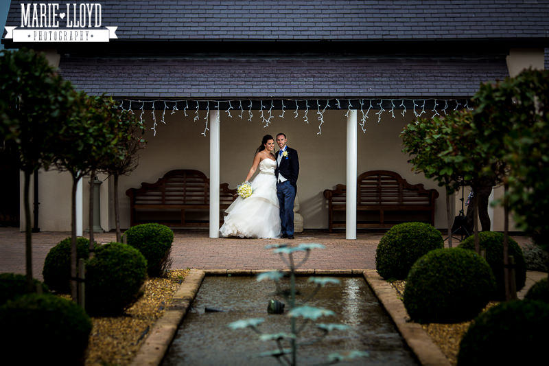 Classic Deganwy Quay wedding photograph along the courtyard water feature