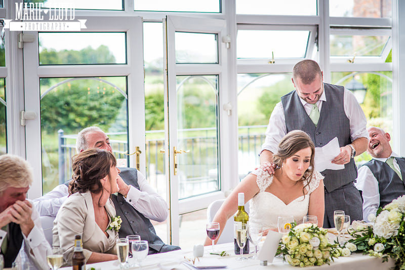 Lion Quays speeches with a surprised bride
