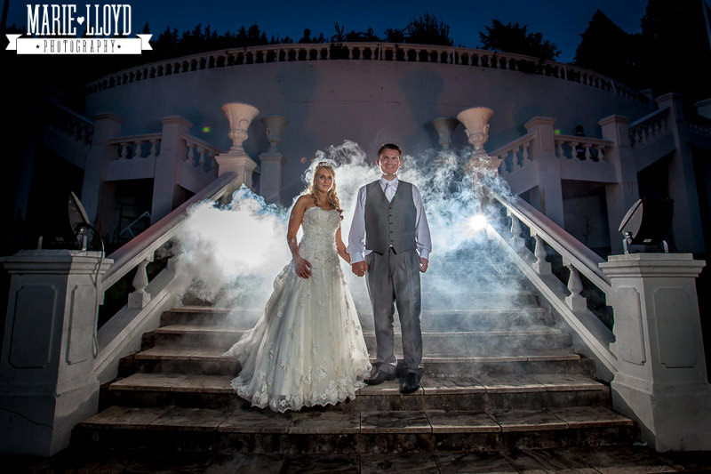 Cool evening shot at Plas Menai on the stairs with a smoky background