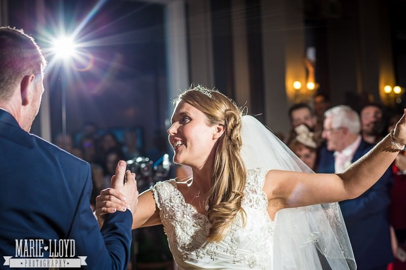 Beautiful Liverpool bride and groom during their first dance at Huyton and Prescot Golf Club