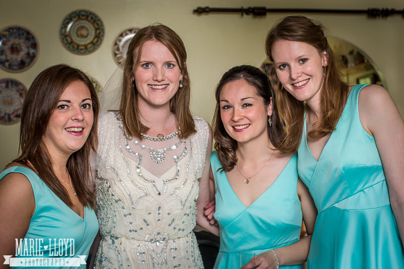 Lucy and her bridesmaids in baby blue