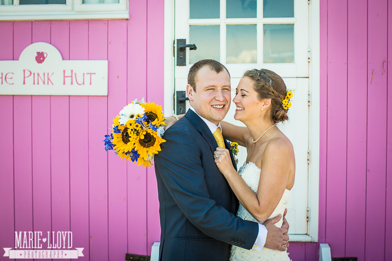 Clare and Paul outside The Pink Hut