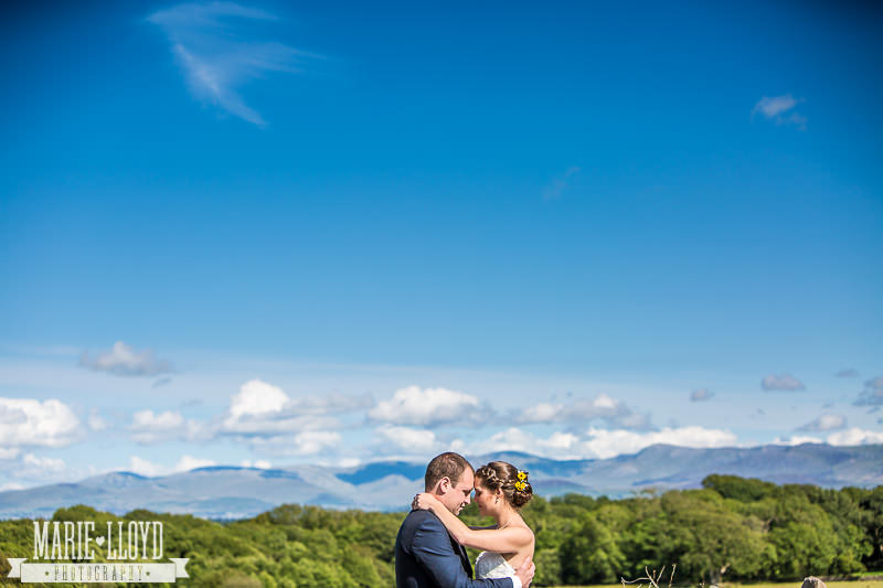 The Outbuildings wedding photographs with fabulous views of Snowdonia in the background