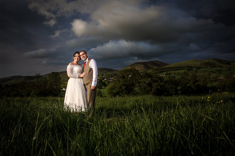 Vale Country Club Ruthin Wedding, bride and groom evening portrait