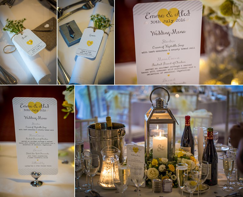 Wedding stationery with yellow hearts and favours with a grey tie for men and pink heart for ladies