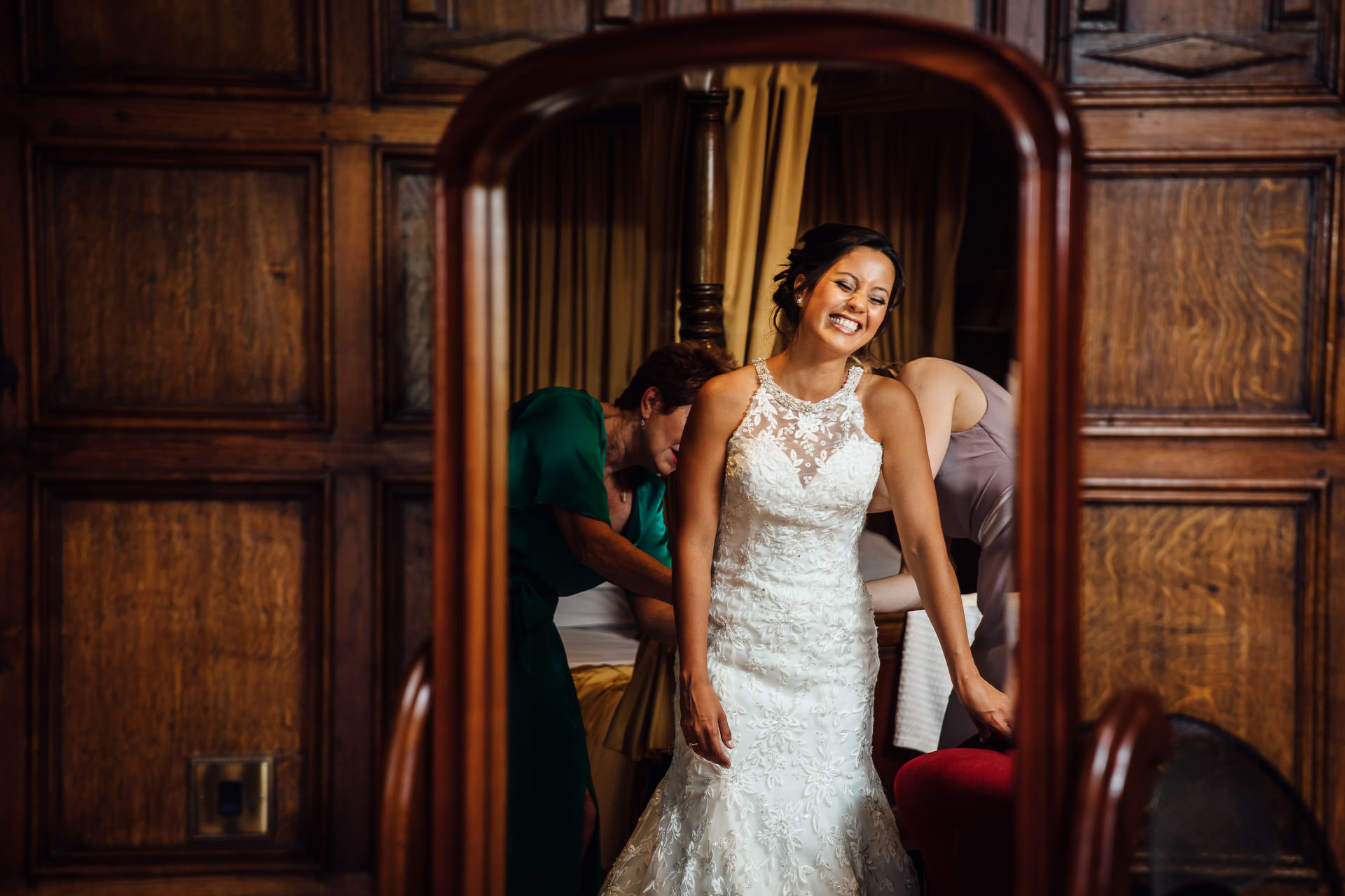 bride in mirror at inglewood manor