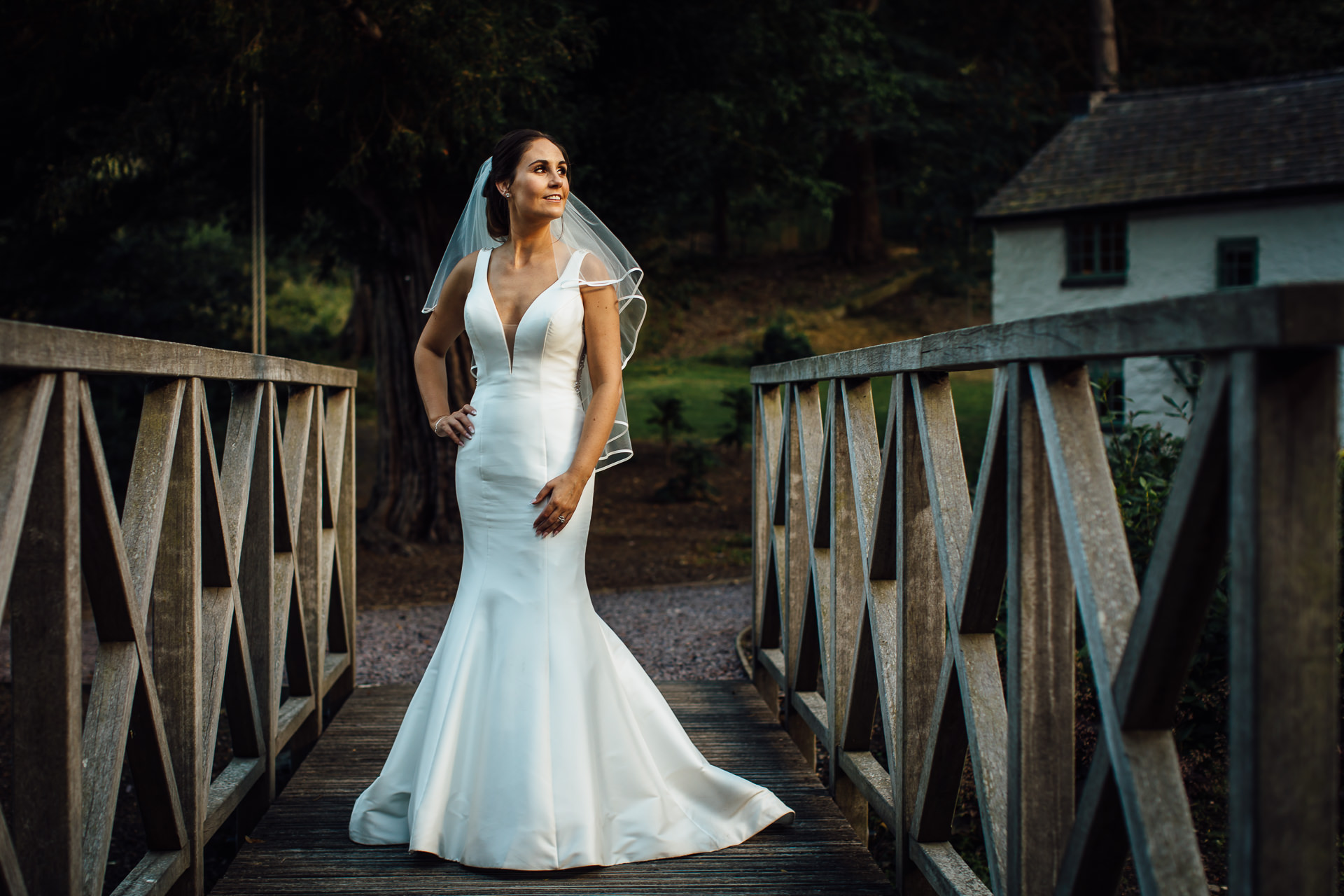 bride on bridge at tyn dwr hall