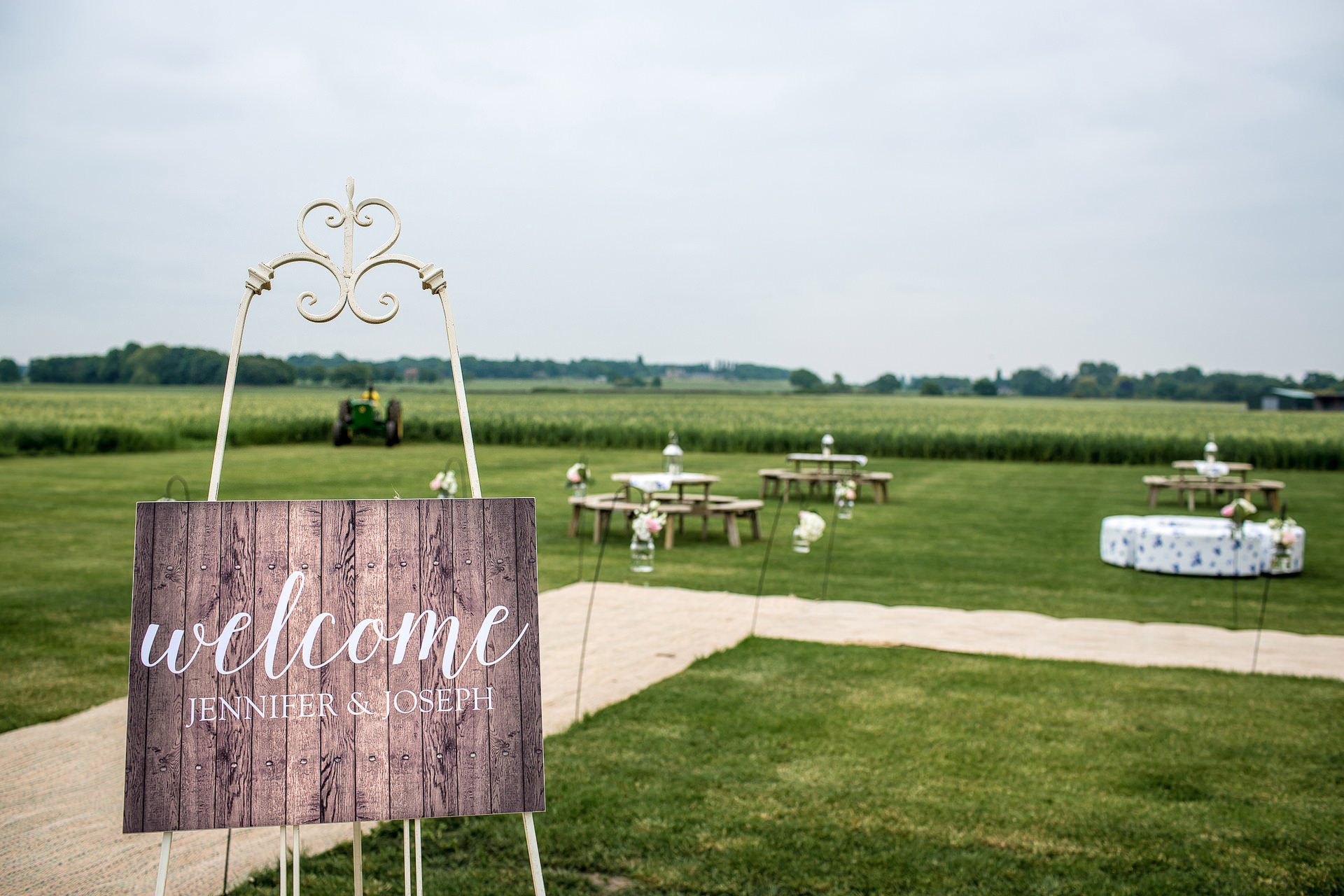 welcome sign farm wedding