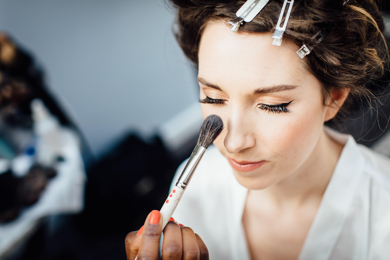 Bride getting ready for church wedding