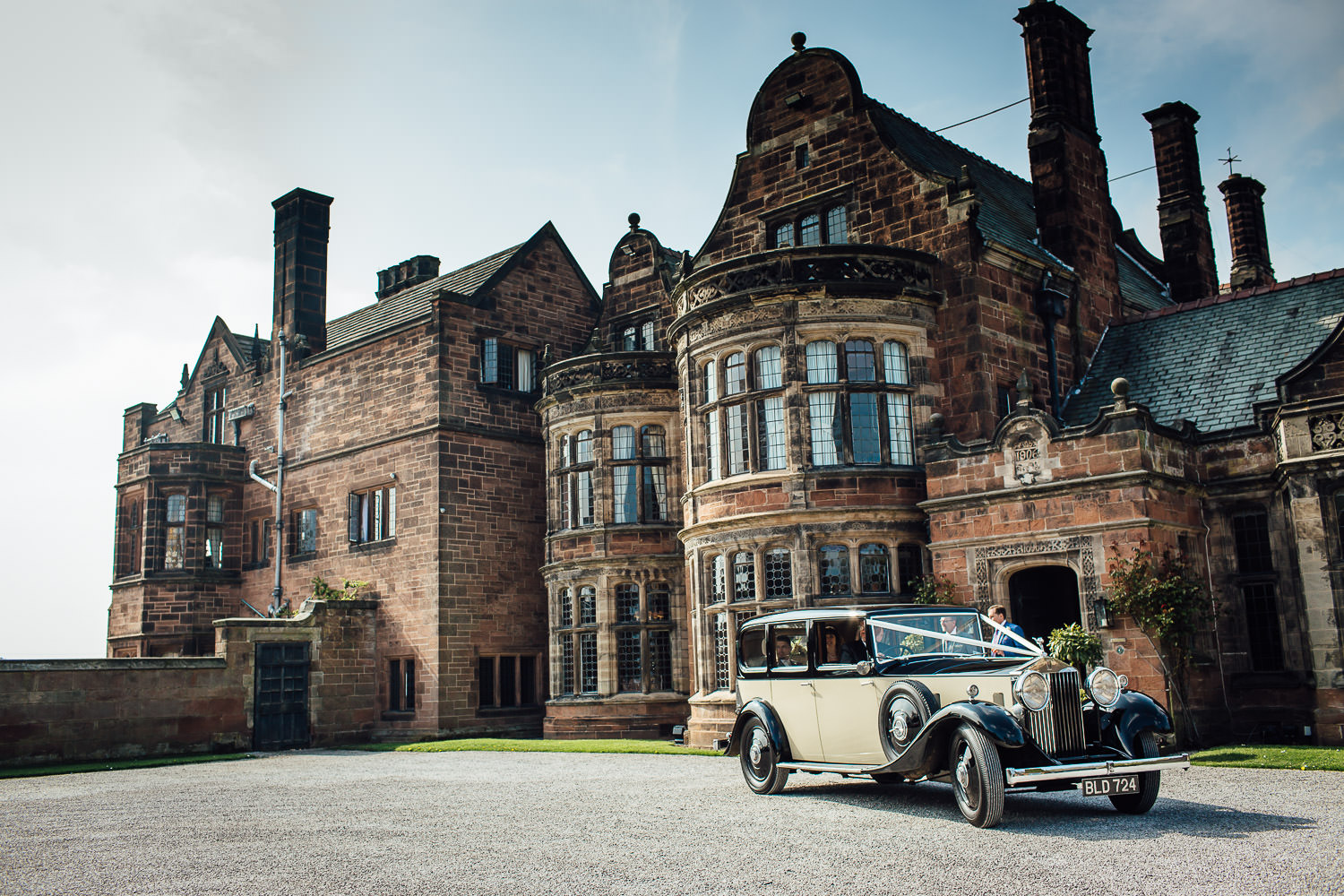 Wedding car outside Thornton Manor in the Wirral