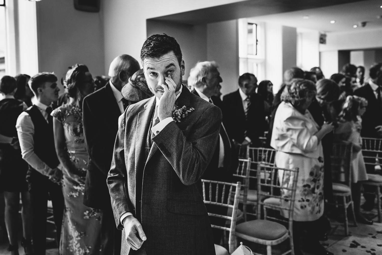 Tyn Dwr Hall groom waiting for bride