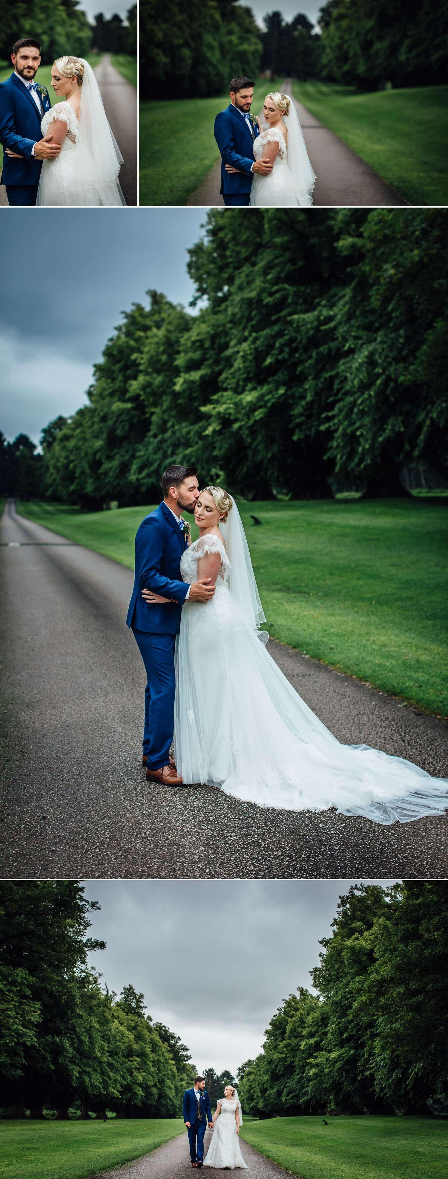 Wedding photography in Soughton Hall Driveway. Portraits of wedding couple