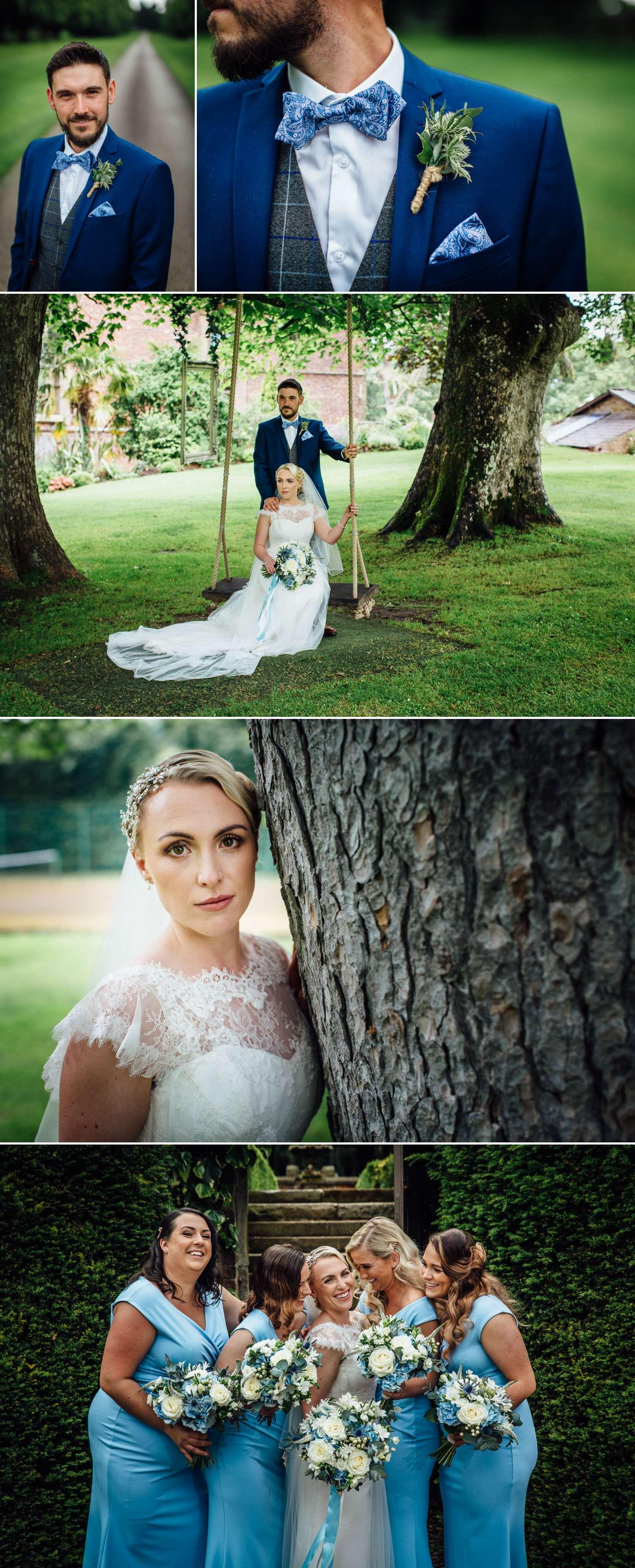 Wedding photography portraits in Soughton Hall wedding ground
