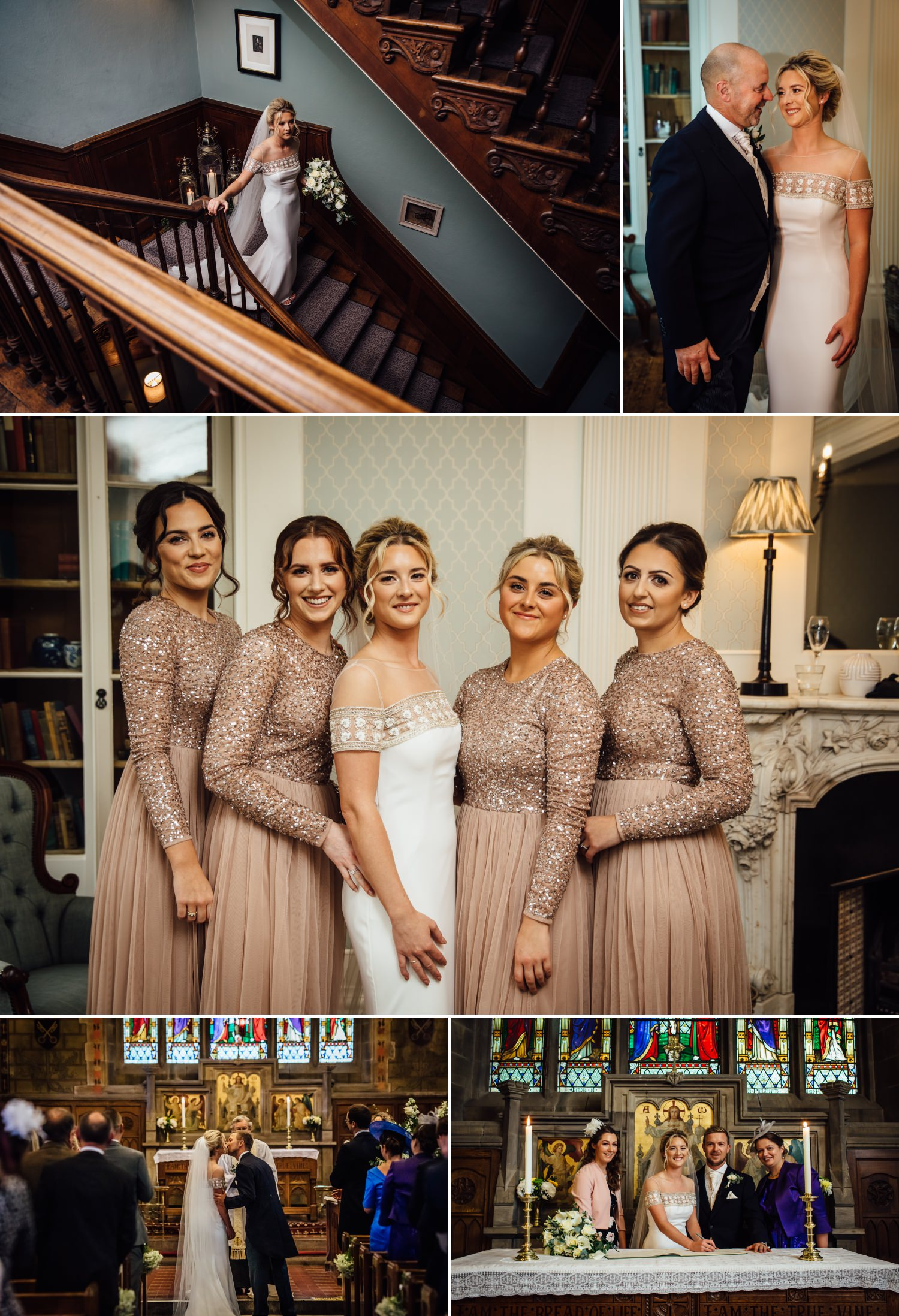 wedding photography collage showing the bride getting ready to leave for the church