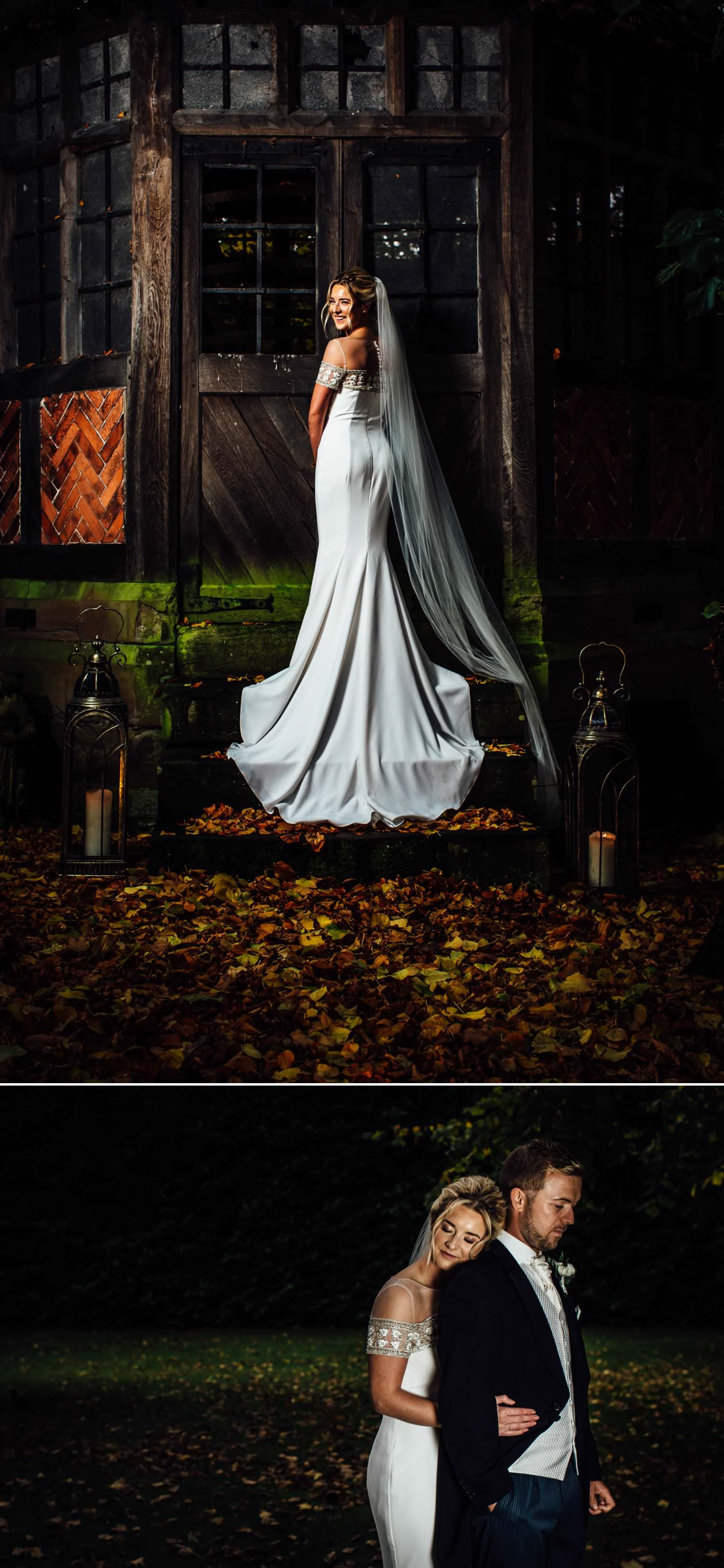 Wedding photography at Soughton Hall with photos of the back of the dress