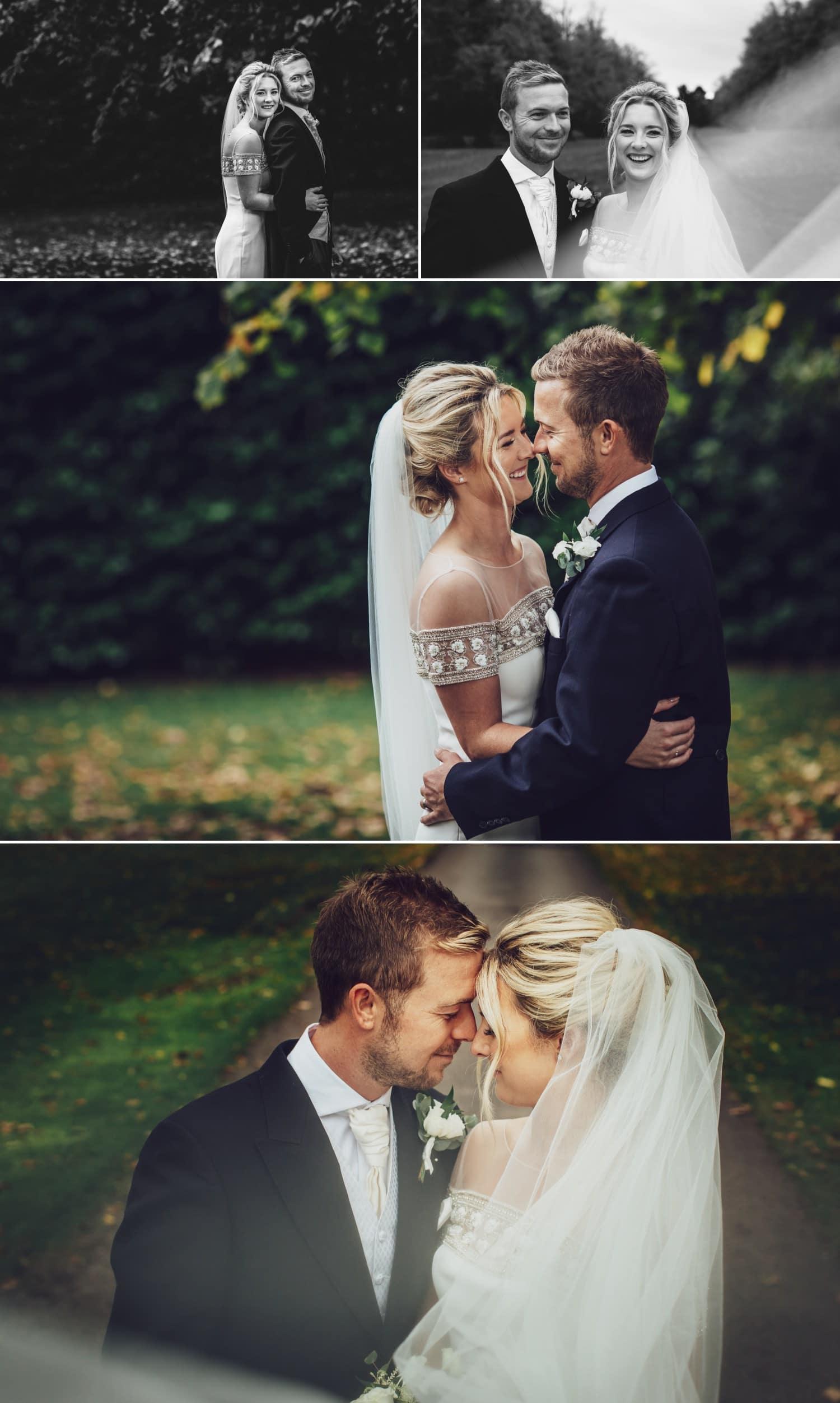 wedding photgraphy portraits of the couple at soughton hall