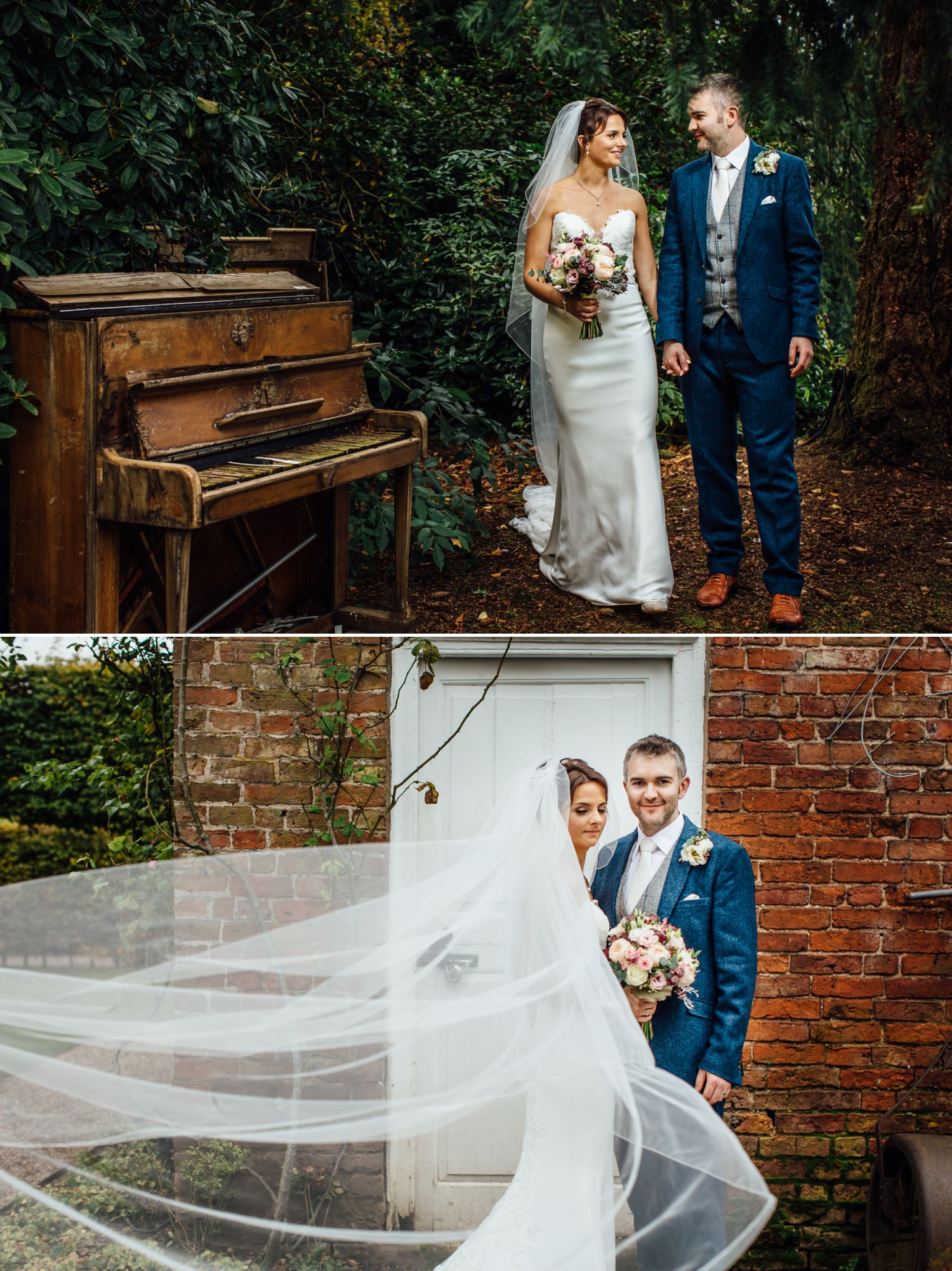 Wedding photography with piano at Iscoyd Park