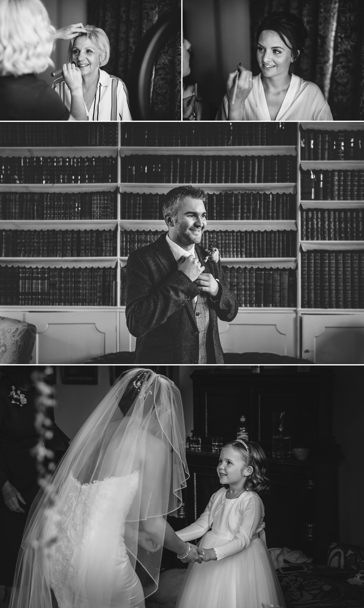 Black and white wedding photography at Iscoyd Park