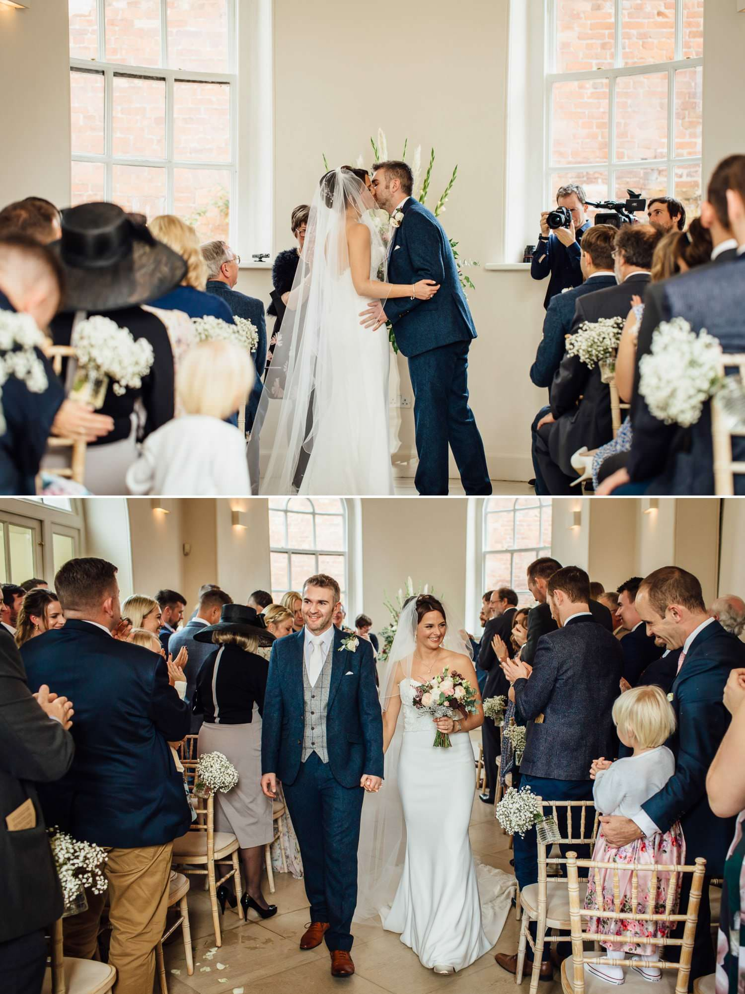 Iscoyd Park wedding photography first kiss