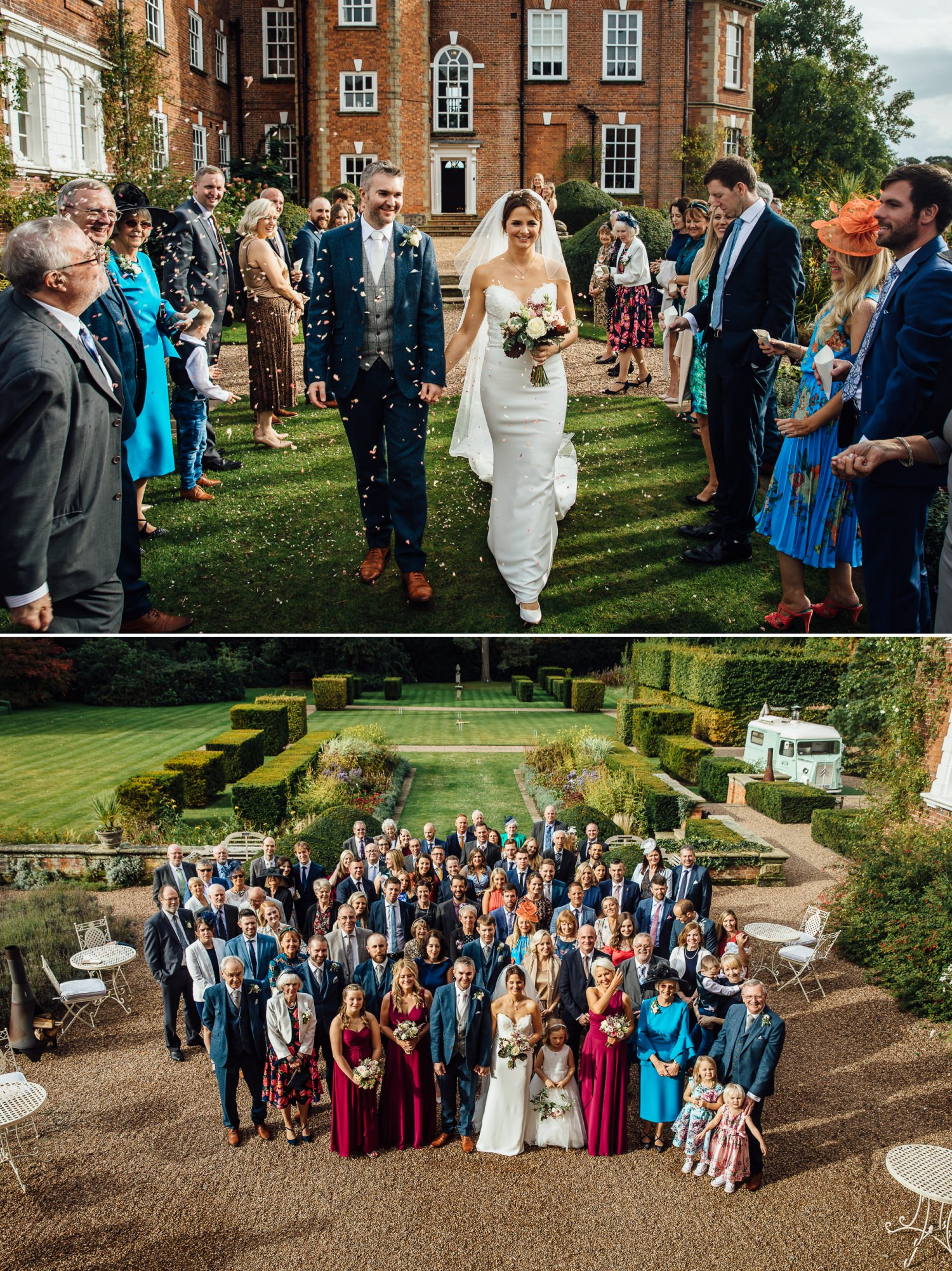 wedding photography at Iscoyd Park with confetti and group shot
