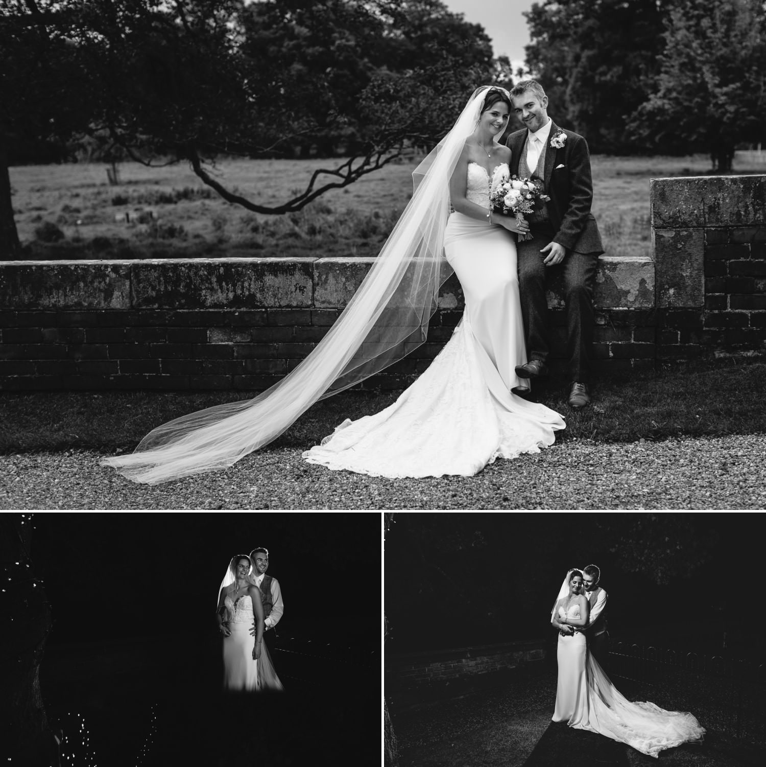 Bridal portrait wedding photography at Iscoyd Park black and white