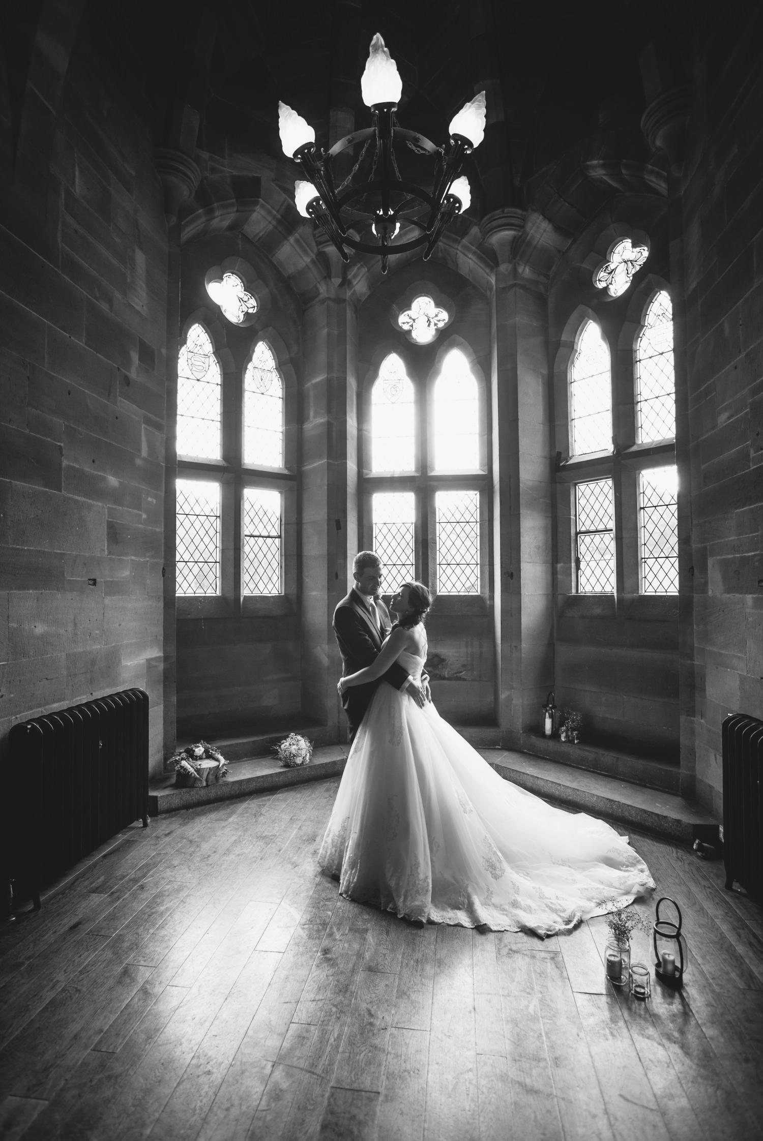 wedding portrait at Peckforton Castle, Chester