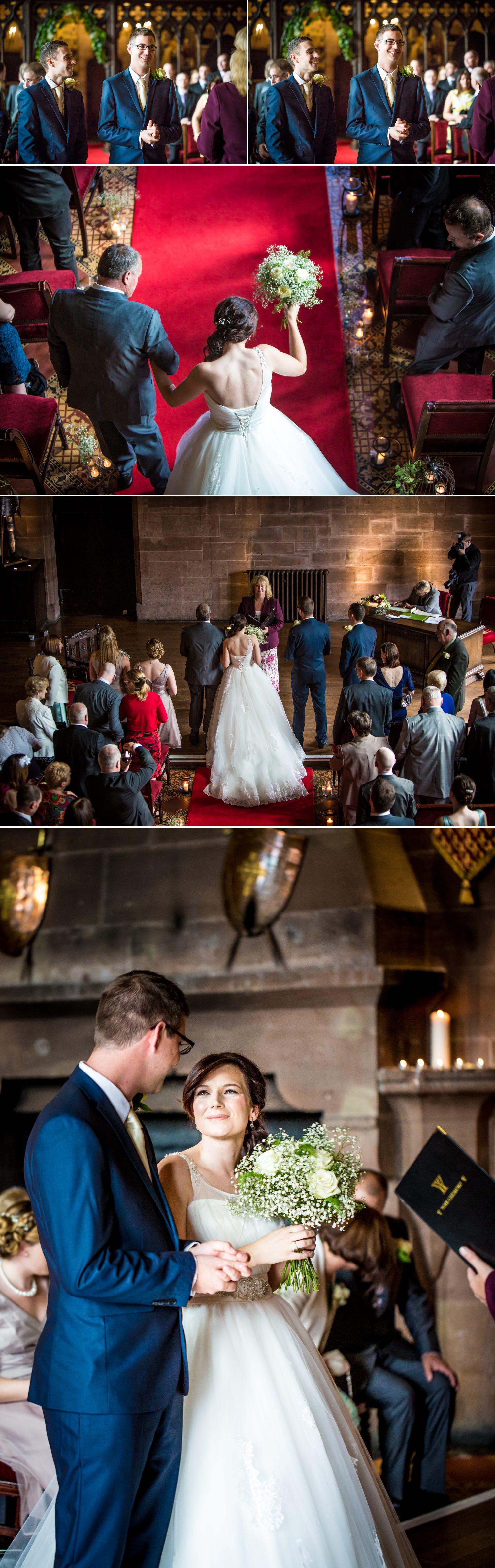 wedding ceremony photographs at Peckforton Castle, chester