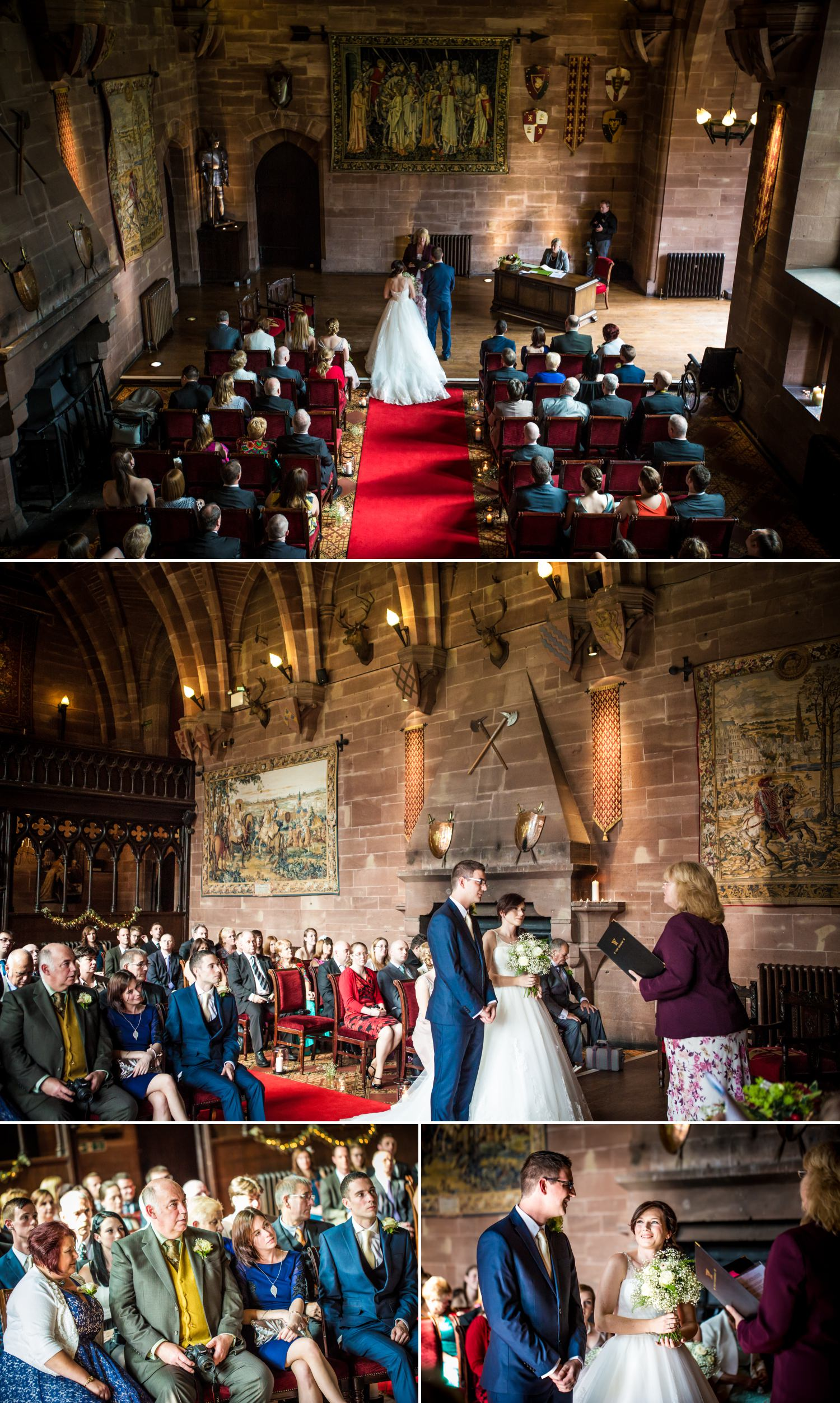 wedding photographs at Peckforton Castle, chester of the wedding ceremony