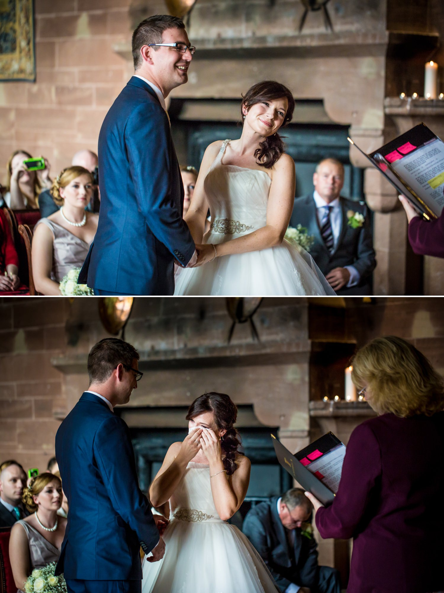 wedding photograph of bride crying at Peckforton Castle, Chester
