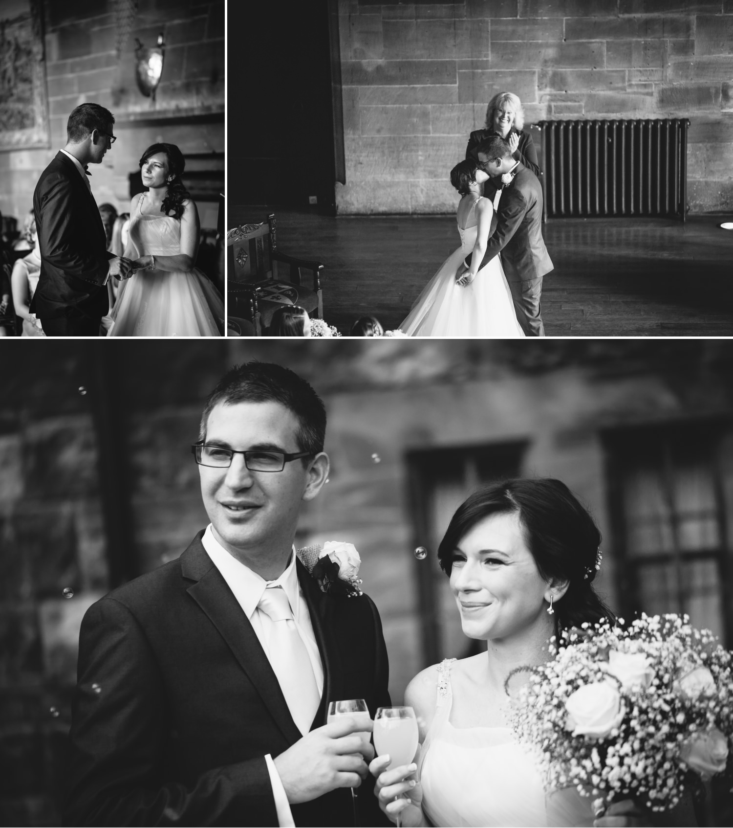 Black and White photographs of the wedding ceremony at Peckforton Castle, Chester