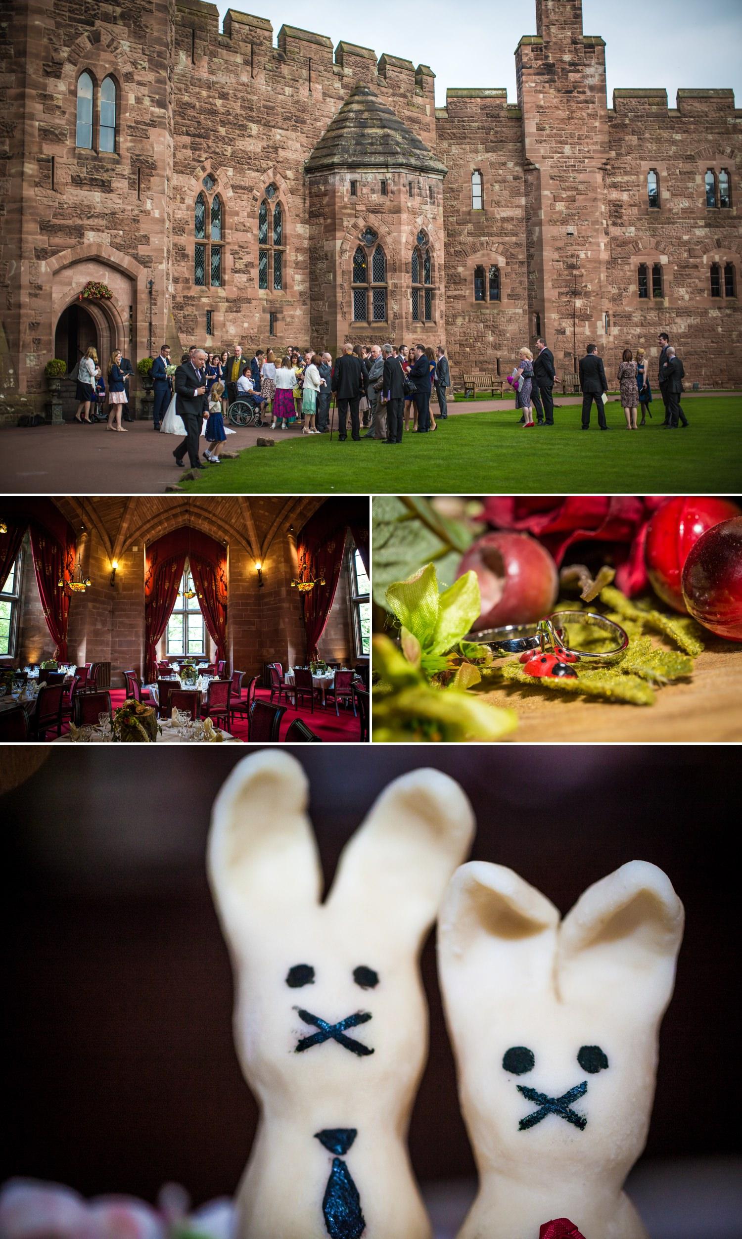 wedding photography details at Peckforton Castle, Chester