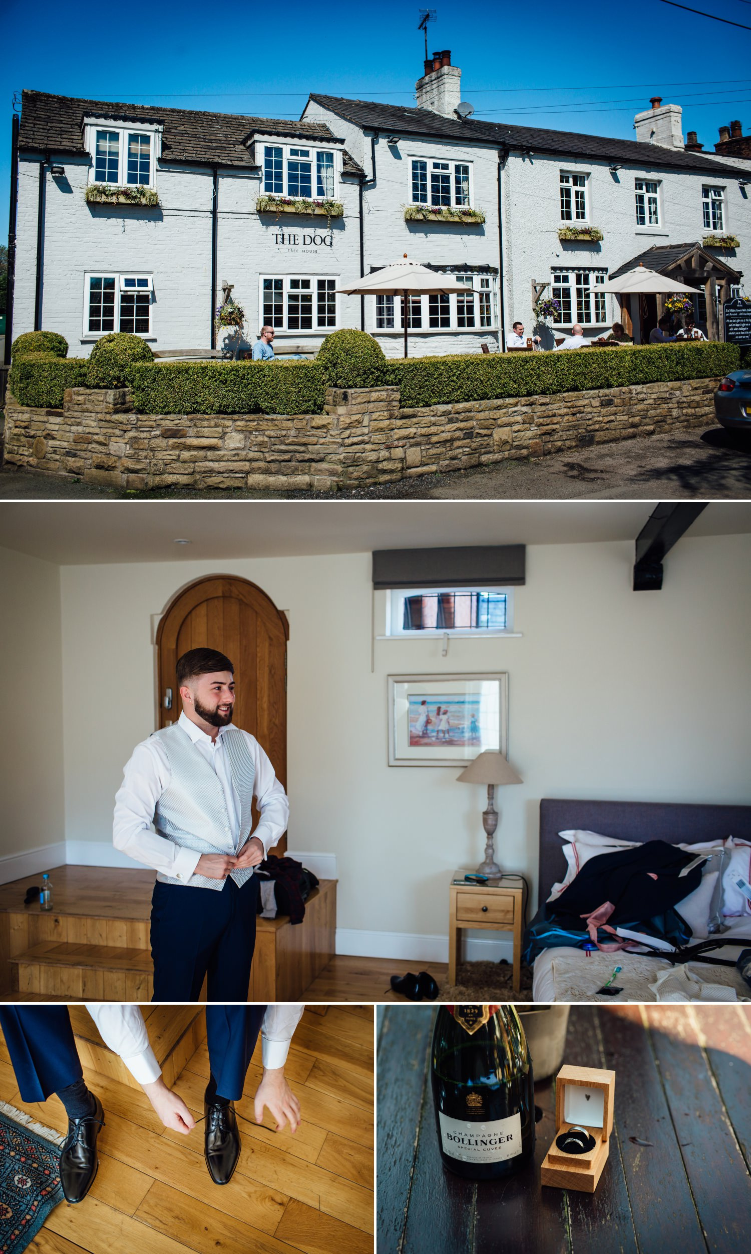 Wedding photography of boys getting getting at Cheshire venue Colshaw Hall