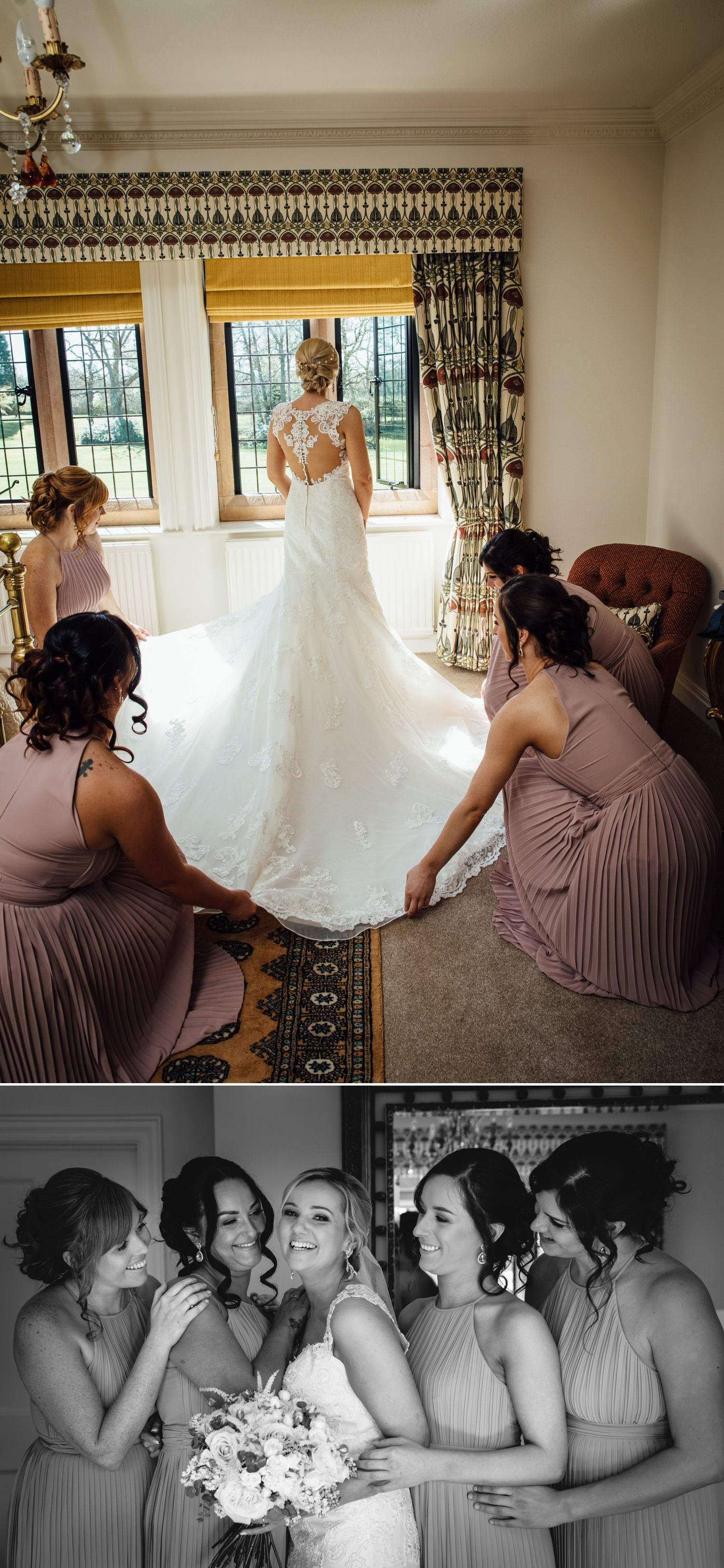 Bride getting ready at wedding venue Colshaw Hall in Cheshire