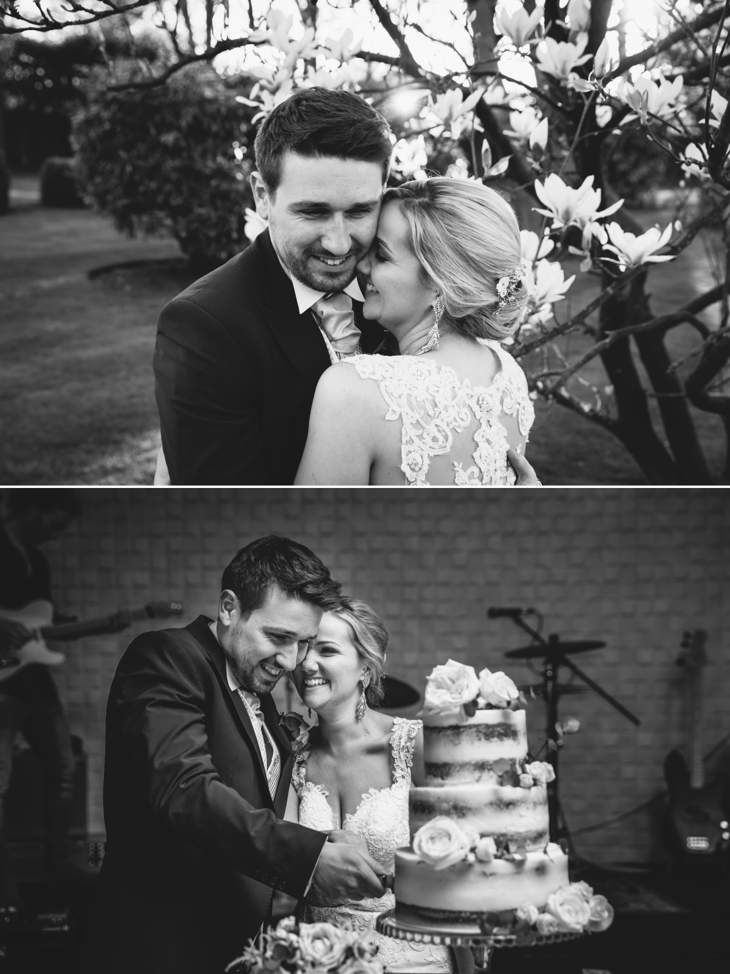 Black and white wedding photography at Cheshire venue, Colshaw Hall