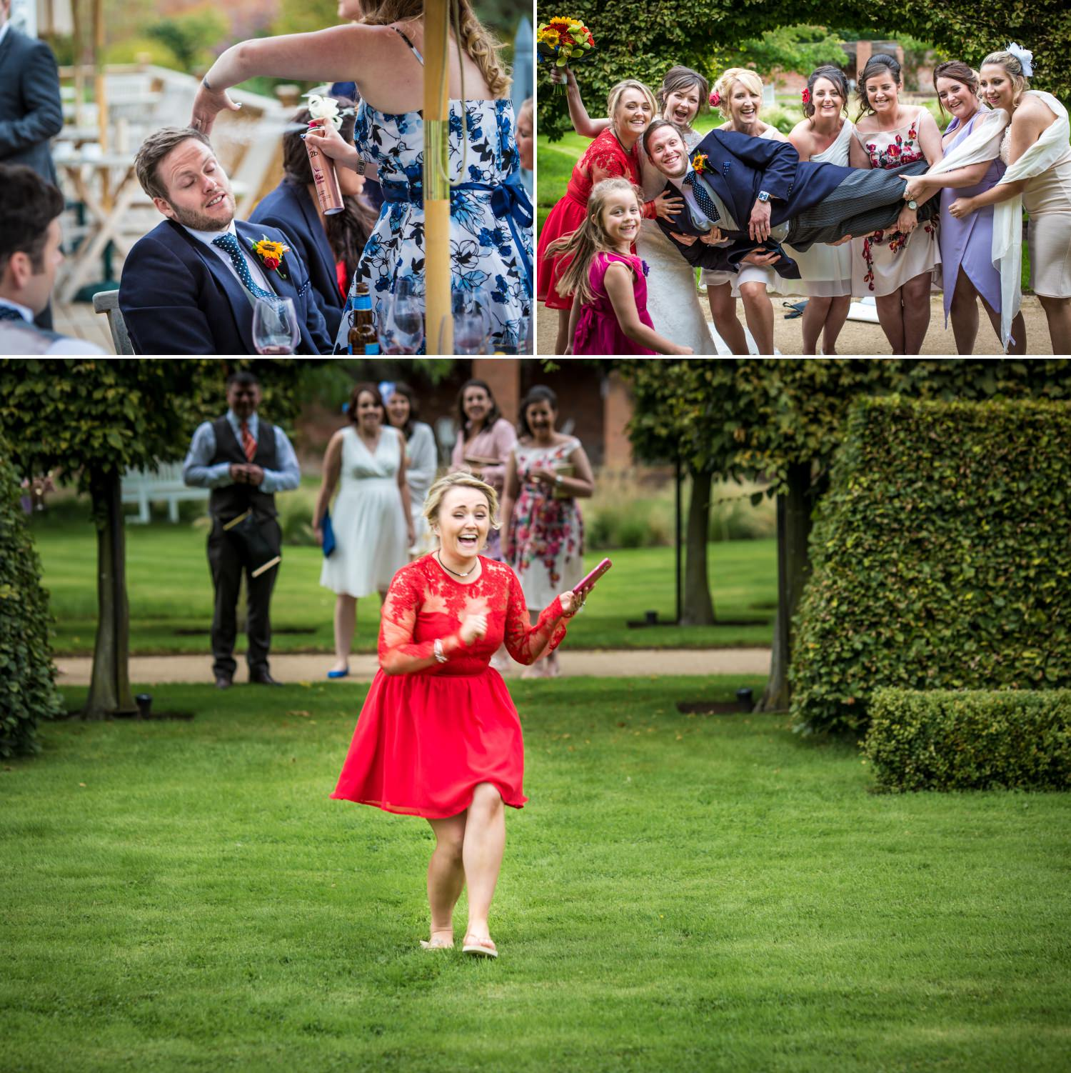 Wedding guests at Cheshire venue Combermere Abbey
